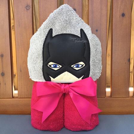 batman batgirl pink hooded towel