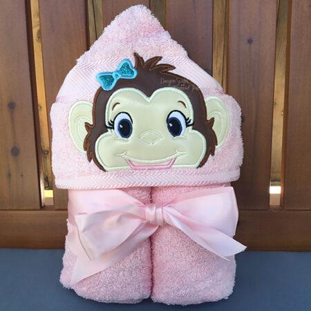 pink monkey girl baby hooded towel
