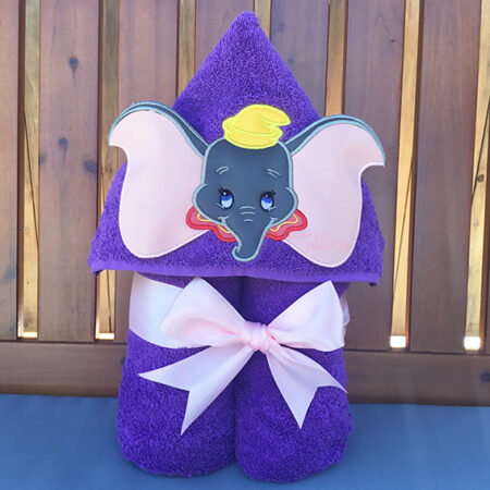 purple dumbo hooded towel flying elephant