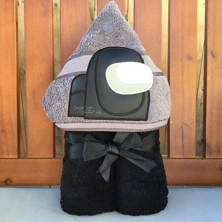 among us black hooded towel