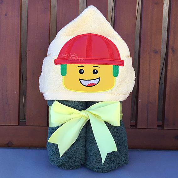 construction builder lego emmett movie hooded towel