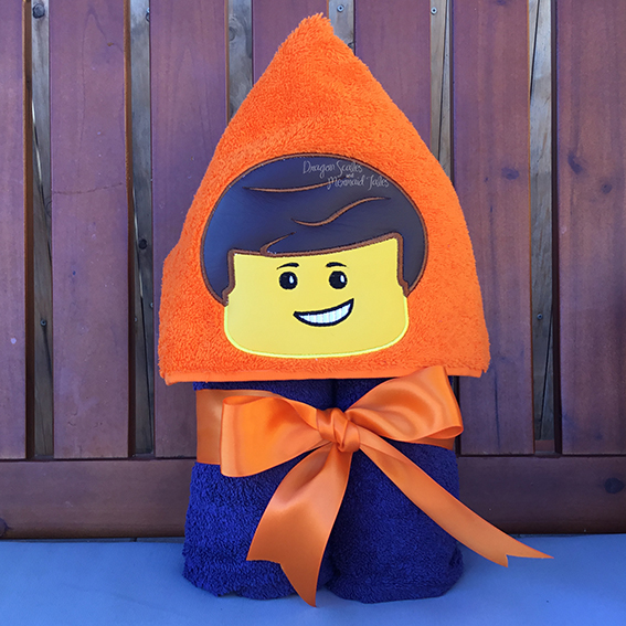 Lego Emmett movie block hooded towel