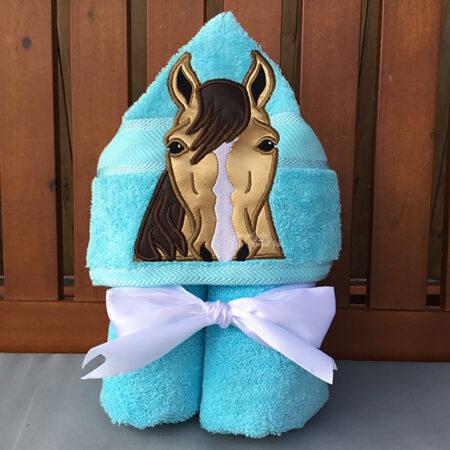 horse majestic golden hooded towel