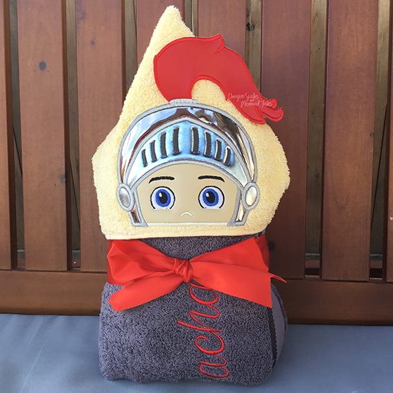 shining knight armour hooded towel