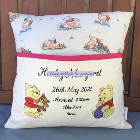 winnie the pooh bear birth details reading cushion pocket pillow