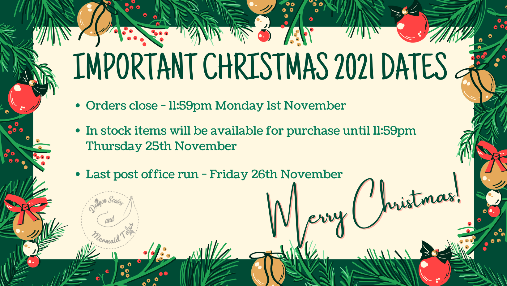 Important Christmas dates 2021